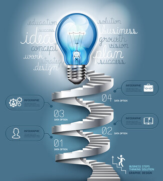 Business stair steps thinking solution Idea, lightbulb conceptual. Vector illustration. can be used for workflow layout, banner, diagram, number options, infographics, web design.