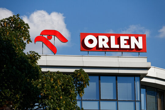 WARSAW/POLAND - JULY 4, 2018: View on PKN Orlen - Polish oil company logotype on the top of building