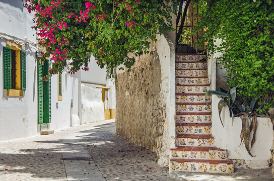 Street of the old old town of Ibiza, Spain