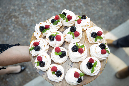 View from above mini pavlova desserts on tray