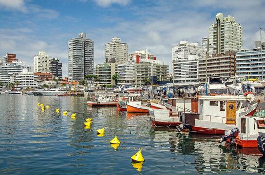 A lot of small boats in Punta del Este, Uruguay