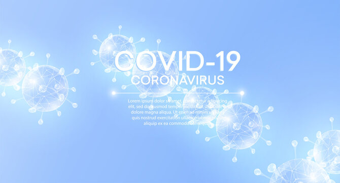 Virus particles on white blue background with COVID-19.  Coronavirus nCoV and biohazard symbol. Epidemic concept.  Vector illustration