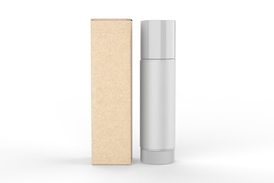 Multifunctional Empty Lip Balm Container Tubes with Twist Bottom and Top Cap and paper box. 3d render illustration.