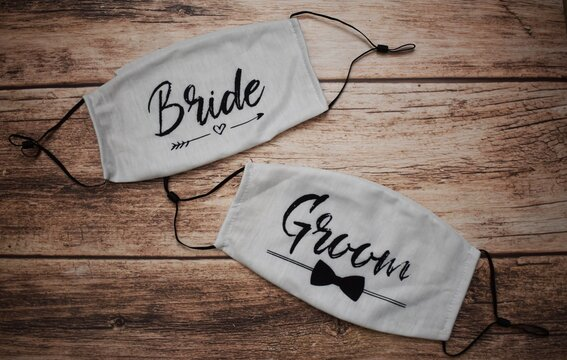 Face masks for bride and groom at their wedding