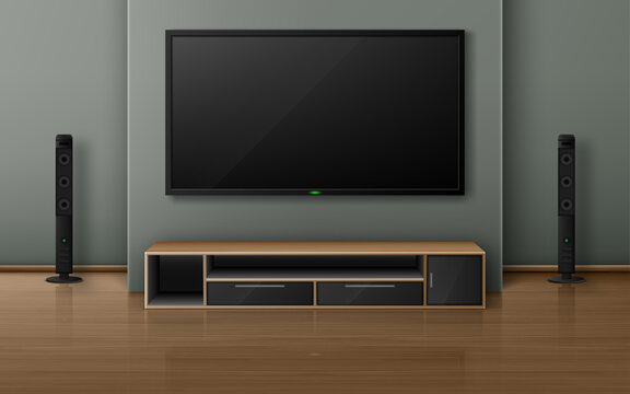 Home theater with tv screen and speakers in modern living room. Vector realistic interior with plasma television hanging on wall, sound stereo system and stand on wooden floor