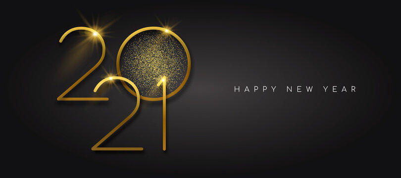 New Year 2021 gold glitter black background card