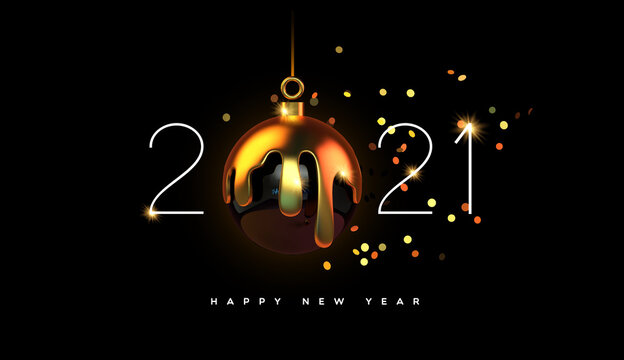 Happy New year 2021 gold 3d bauble decoration