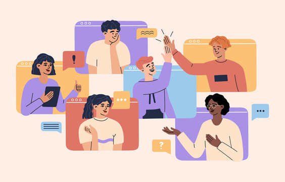 Online video call concept, virtual conference with team of remote workers, computer screen, working from home, a group of men and women colleagues have meeting, web communication. Vector illustration