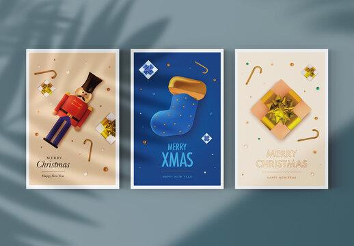 Christmas Greeting Postcard Layout