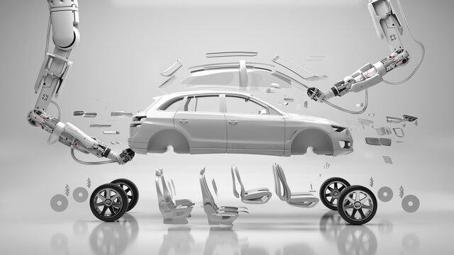 Robotic arms assembling car parts