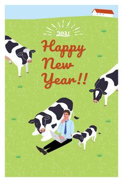 2021年 年賀状デザイン 牛とリモートワークの男性のイラスト 丑年
