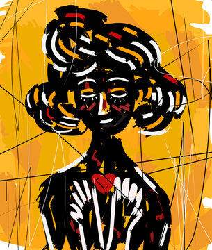 beautiful expressionist doodle girl with a cute heart