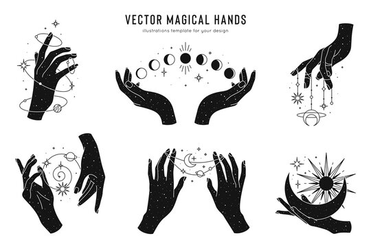 Vector magical hands set of logo template. Linear style, minimal design. Planets, moon phases, sun and stars. Esoteric and mystical design elements.