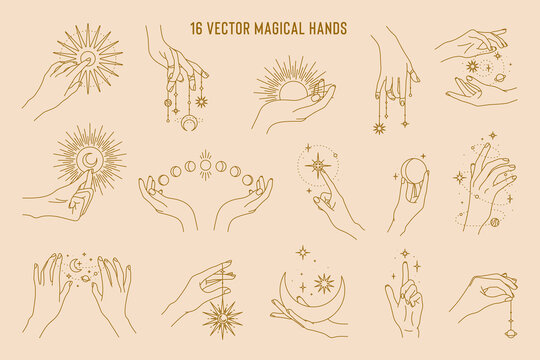 16 vector magical hands set of logo template. Linear style, minimal design. Planets, moon phases, sun and stars. Esoteric and mystical design elements.