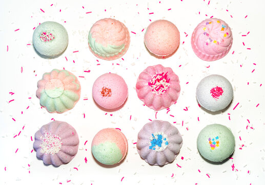 Fun colors and shapes of bath bombs