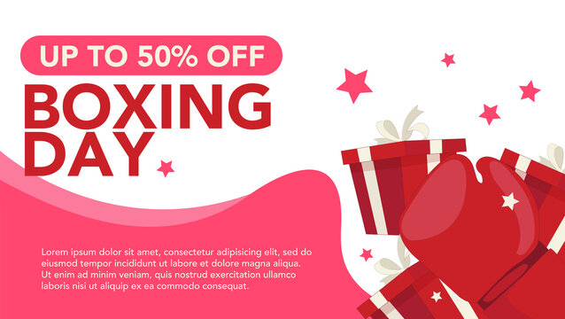 Boxing day sale banner with pictures of gifts for many needs of the online business