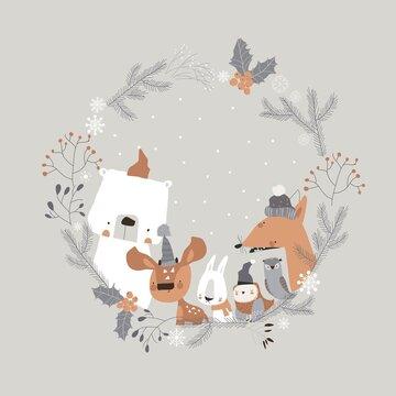 Cute cartoon animals meeting holiday in winter wreath