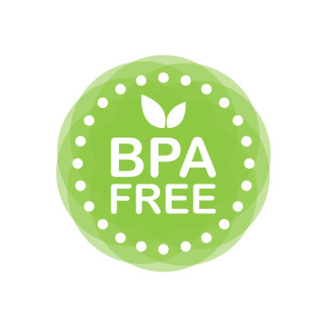 BPA free. Flat green badge. Product advertising. Web design. Vector illustration.