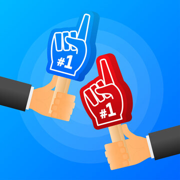 Hands hold red and blue of handsome fan hand glove with foam finge. Vector illustration.