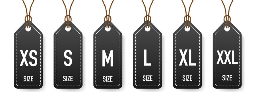 Collection of clothing size labels isolated on white background. Vector illustration.