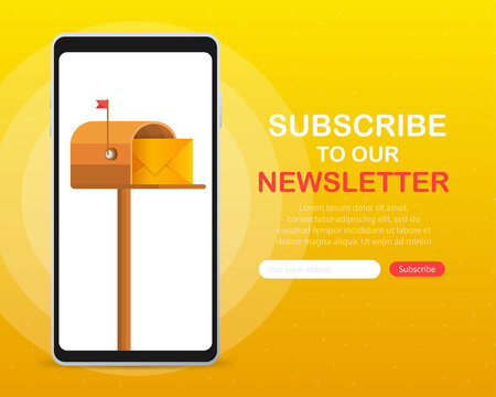Mailbox with a letter inside in a flat style on screen device on a yellow background. Subscribe to our newsletter. Vector illustration.