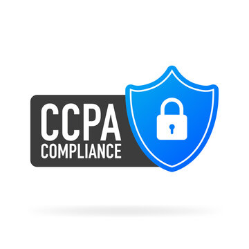 CCPA compliance flat blue secure label on white background. Vector illustration.
