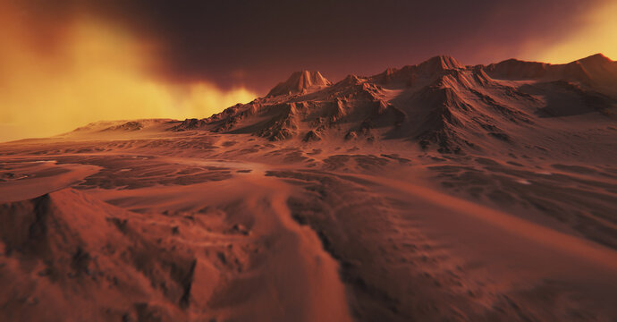 Mars environment. Mountains covered with yellow fog. 3D illustration. Red mountains in the desert.