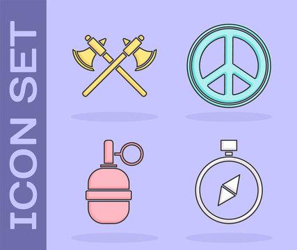 Set Compass, Crossed medieval axes, Hand grenade and Peace icon. Vector.