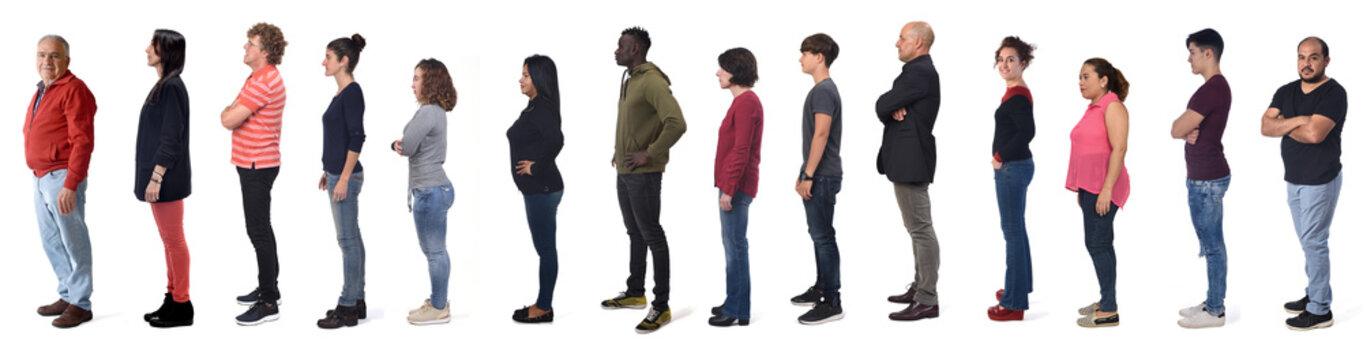 profile of a large group of man and women wearing  jeans on white background