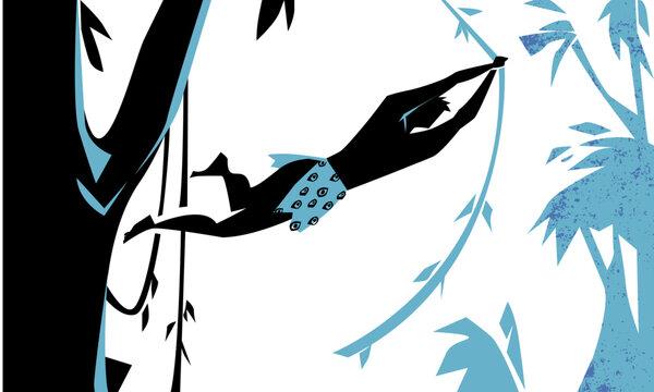Tarzan swinging on vines jungle, vector illustration
