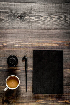 profession concept with writer tools on work desk background top view mock-up