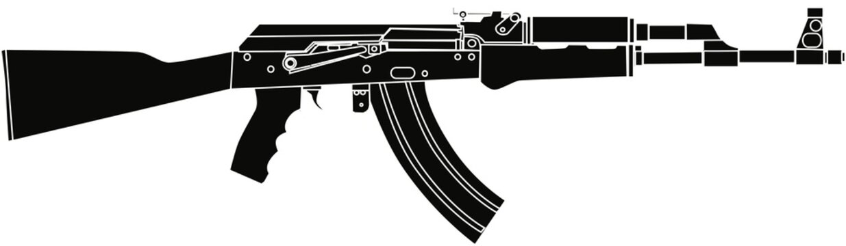 AK47 Rifle Black Vector Illustration