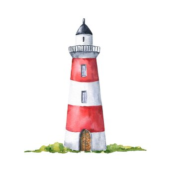 Watercolor lighthouse isolated on white background. Hand painted watercolour nautical illustration.
