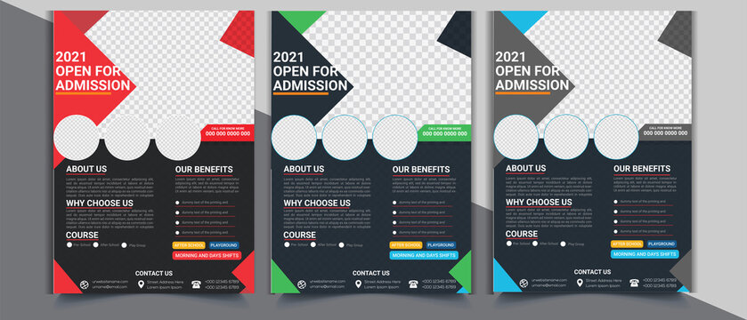 Admission Coming soon Flyer vector template, educational Flyer with Photo space.