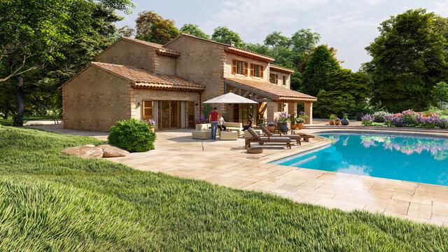 Mediterranean style villa with pool and garden