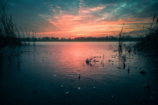 Frosted Lake by Sunrise