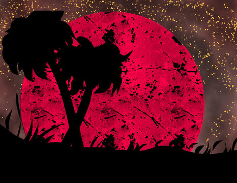 silhouette of coconut trees on blood moon and stars .