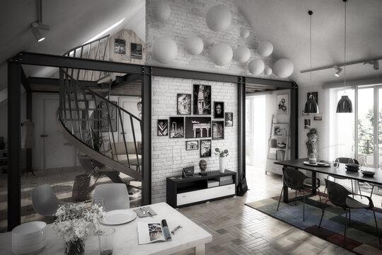 Attic Loft Conversion With Spiral Staircase & Decoration - black & white 3d visualization