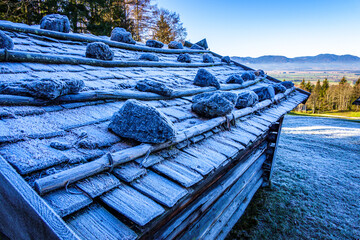 Wall Mural - old wooden hut at the european alps