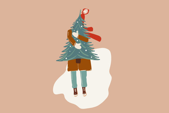 Christmas festive illustration of a woman with a New Year tree outdoors