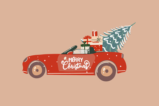 Christmas festive illustration of a red car full of a presents on the background
