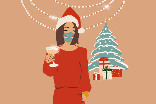 Sad woman in facial mask celebrating alone New Year holidays at home. Vector illustration in flat style.