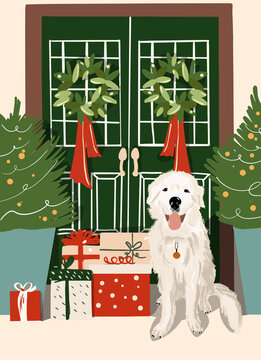 Illustration of a beautifully decorated for the New Year a house entrance with white dog sitting in front
