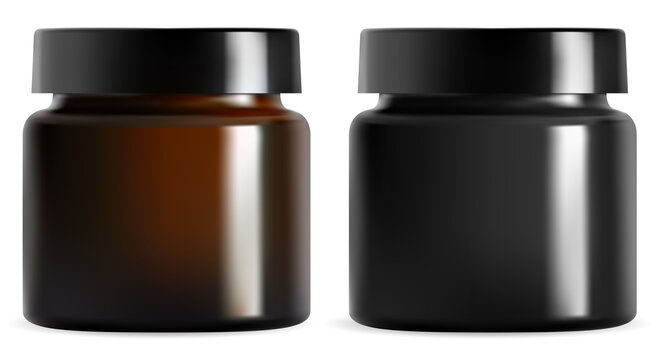Cream jar. Black plastic cosmetic packaging mockup. Isolated brown glass container vector blank. Realistic amber can with glossy cap for face lotion. Round canister for premium cosmetics product