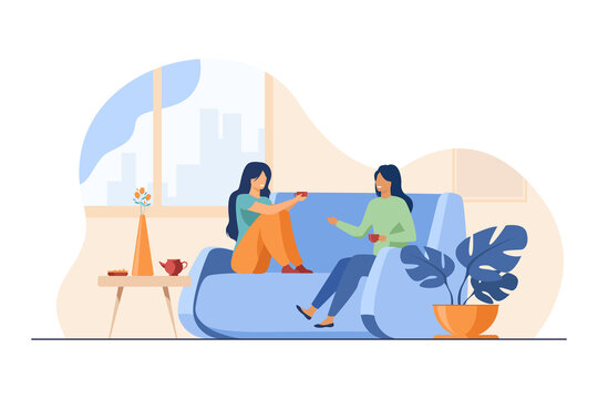 Two female friends meeting and chatting at home. Women drinking tea and talking on couch flat vector illustration. Friendship, leisure concept for banner, website design or landing web page