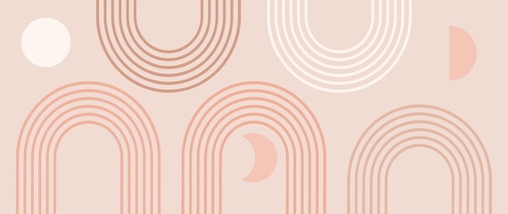 Obraz Abstract contemporary aesthetic background with geometric balance shapes, five rainbow and sun, moon circles. Boho wall decor. Mid century modern minimalist print. Neutral Geometric art. Organic shape - fototapety do salonu