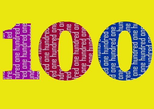 number in number with bright color design, ONE HUNDRED