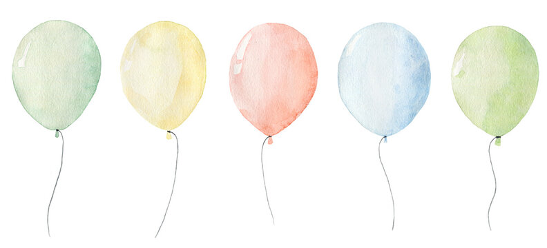 Set of watercolor balloons isolated on white background.
