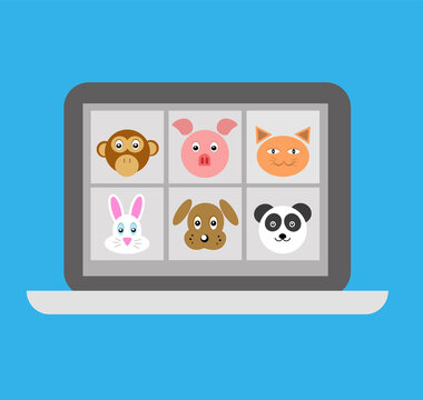 Digital Classroom Online Education internet vector illustration with animal design. Animal character design video conference. Video Conference, Calling, Remote  meeting. Work from home. Coronavirus.
