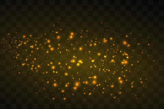 Dust white. White sparks and golden stars shine with special light. Vector sparkles on a transparent background. Christmas abstract pattern. Sparkling magical dust particles